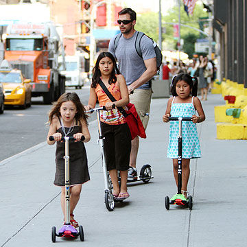 Hugh Jackman with daughter Ava and friends