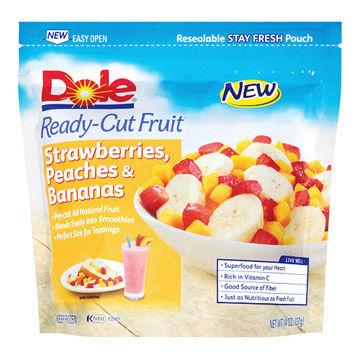 Dole Ready-Cut Fruit Strawberries, Peaches, and Bananas