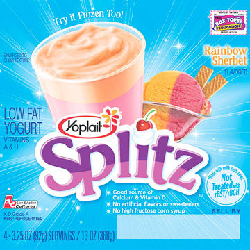 Yoplait Splitz Rainbow Sherbet