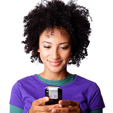 woman reading email on phone