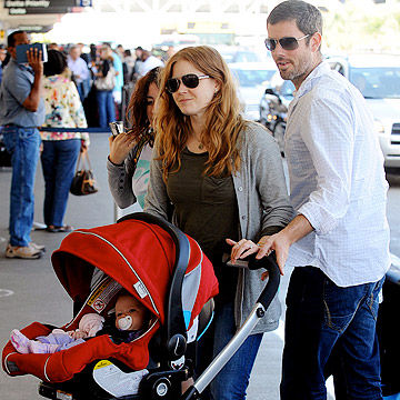 Amy Adams and fiance Darren Le Gallo take baby Aviana through LAX