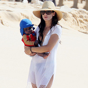 Sandra Bullock with her adopted son Louis