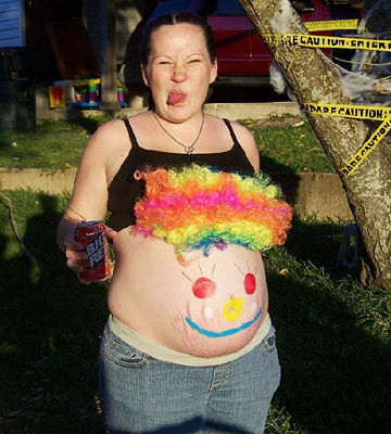 Clown Face Painted Belly