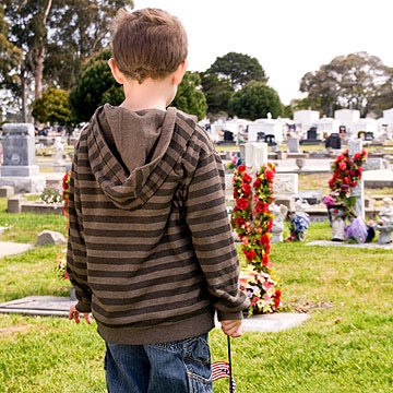 child in cemetery