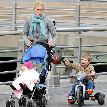 Edie Falco and her kids