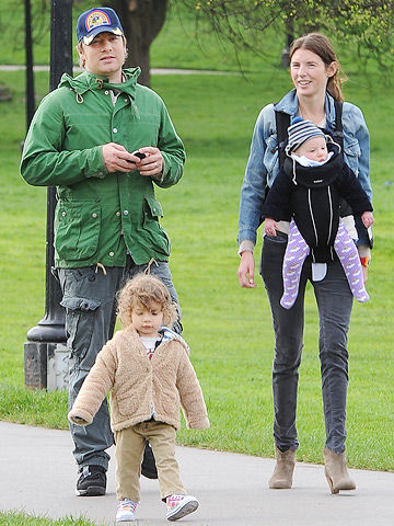 Jamie Oliver with his wife and family