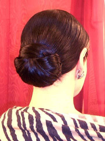 Brown hair low tight bun