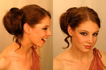 Dark redish brown hair up side and front view