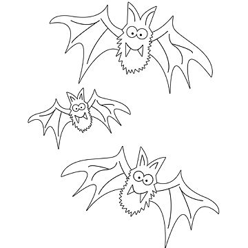 bats coloring page - Halloween Coloring Books