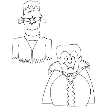 Frankenstein and Vampire coloring page