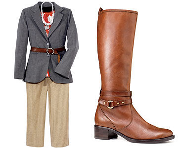Gray Jacket/Tan Pants and Riding Boot
