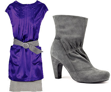 Purple tunic/gray skirt and Gray Boot