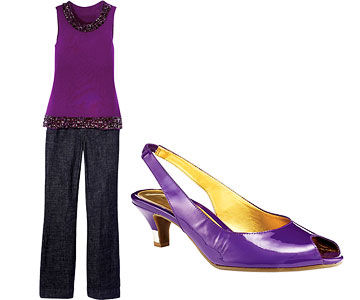 Purple top/jeans and purple shoe