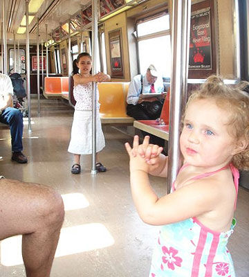 Tatum and Sophie on the subway