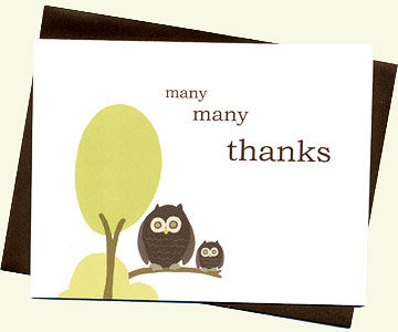 Owl thank-you cards