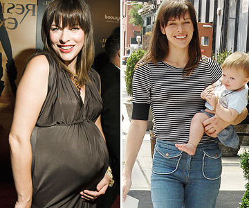 Milla Jovovich before and after pregnancy