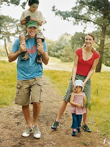 Family hiking through the trails