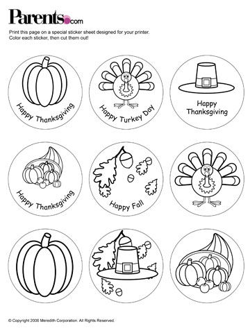 Thanksgiving Stickers prinable