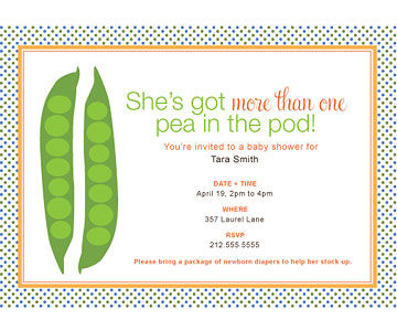 Sweet Peas baby shower invite