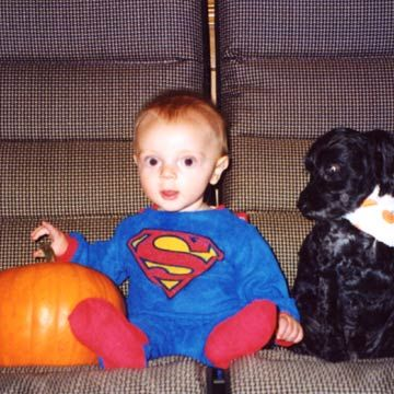 Baby In Superman Outfit With Black Lab