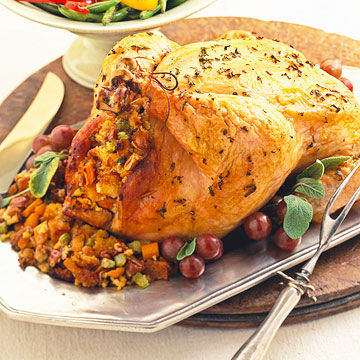 Roast Chicken with Corn Bread Dressing