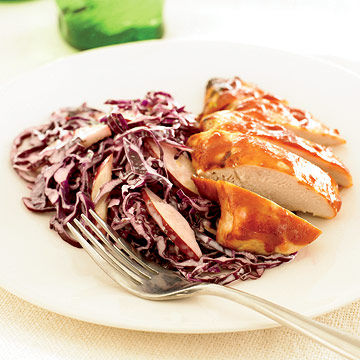 BBQ Chicken with Cabbage and Pear Slaw