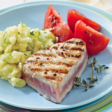 Grilled Tuna with Smashed Potatoes