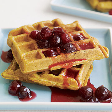 Pumpkin Waffles with Cranberry Syrup