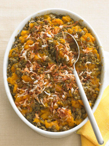 Curried lentils with butternut squash
