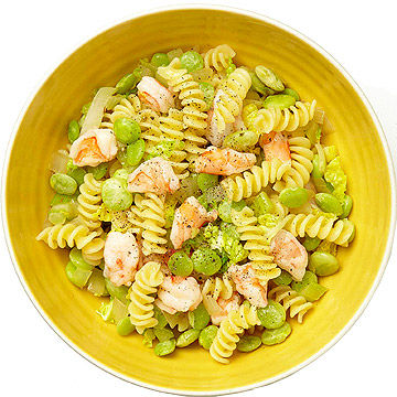 Fusilli With Lima Beans, Cabbage, and Shrimp