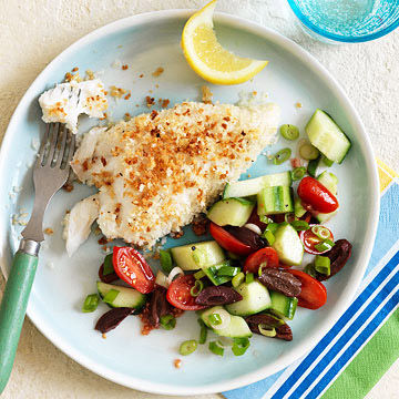 Panko-Topped Fish with Easy Greek Salad