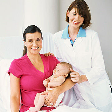 doctor with new mother