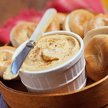 bagels with peanut butter spread