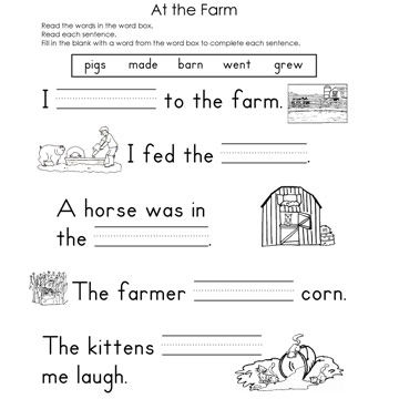 At the Farm Fill-In-The-Blank Reading Worksheet
