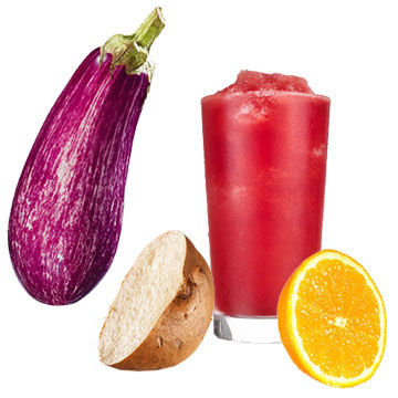 orange, eggplant, potato, smoothie