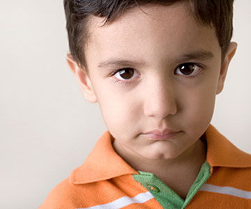 child with sad face