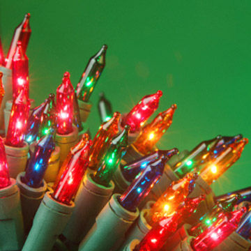 close-up of colored lights