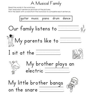 A Musical Family Fill-In-The-Blank Reading Worksheet