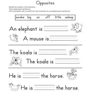 Fill in the blank worksheets