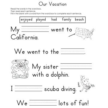 Our Vacation Fill-In-The-Blank Reading Worksheet
