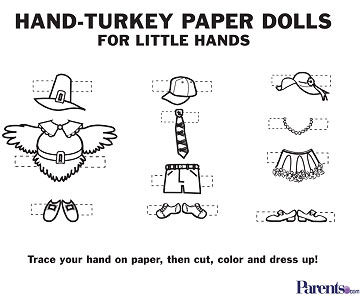 Hand-Turkey Paper Dolls printable