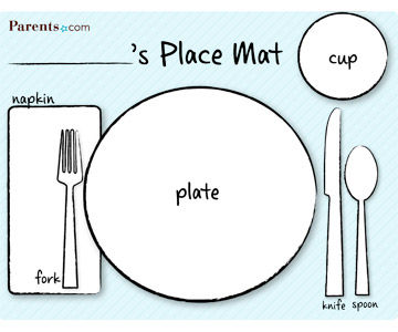 Printable table setting place mats Simple table setting for lunch
