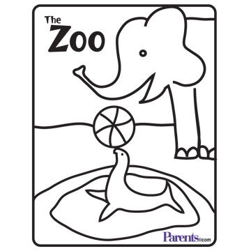 Zoo Coloring Book Page