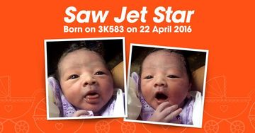 A woman named her baby Saw Jet Star after giving birth on Jetstar Asia flight.