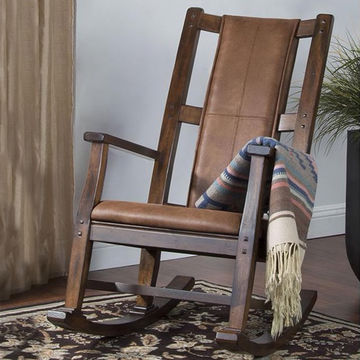 Rustic Nursery Decor Ideas Wood and Leather Rocking Chair