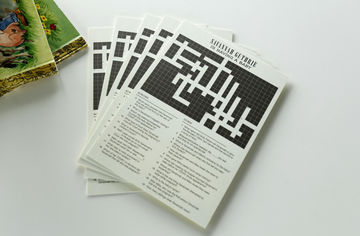 Custom crossword puzzle is fun activity for co-ed baby showers.