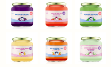 Fake line of baby food urges parents to stop feeding gender stereotypes to their kids.
