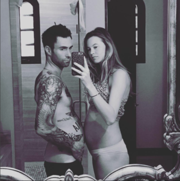 Adam Levine Bumps Baby Bellies With Behati Prinsloo in Instagram 'Belfie'