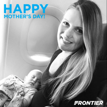 Frontier Airlines celebrated moms on Mother's Day with this Facebook post of a woman holding a baby, but its female pilots say its policies discriminate against working moms.