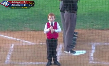 boy hiccups through national anthem